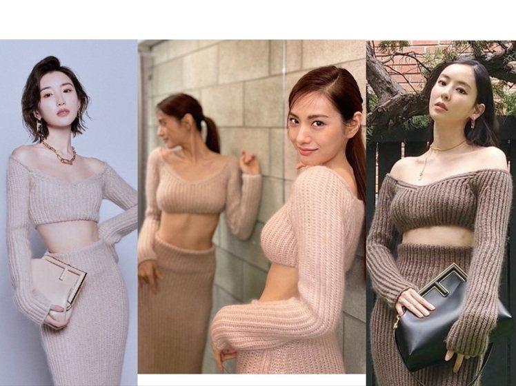 毛曉彤、韓星Nana和李多熙,都詮釋了同一件FENDI針織裙。圖/取自微博、IG