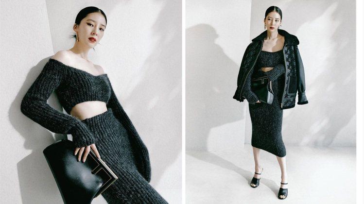 較以往低調的韓國網紅Irene Kim身穿深灰色系FENDI針織裙,展現都會感。...