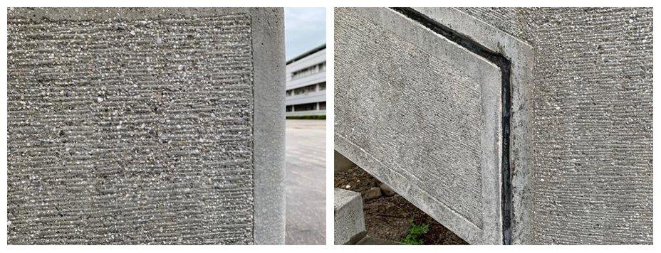 水泥面都用費工的斬石子處理方式且作工非常精細。 圖/呂琪昌
