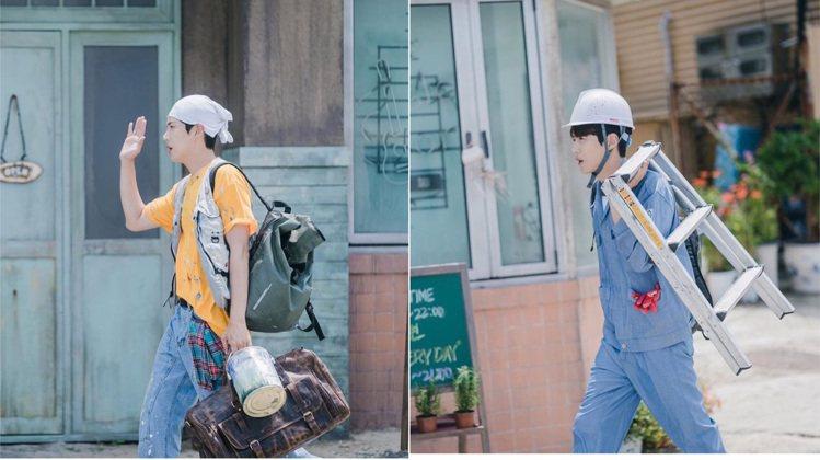 (左)金宣虎背著KANEI TEI後背包,搭配灰色nau KOREA工裝背心,在...