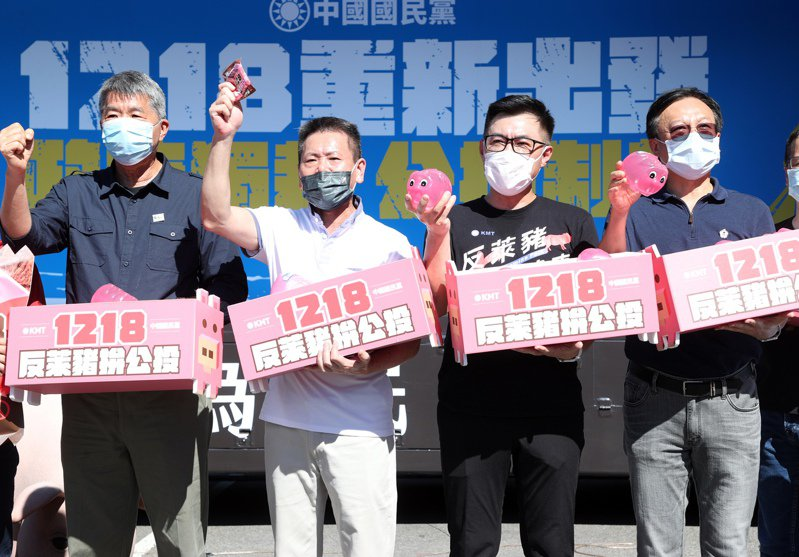 國民黨主席江啟臣(左三)力拚連任,最近也動作不斷。他日前率領藍營立委直搗民進黨中央黨部旁,舉辦公投宣傳記者會。圖/聯合報系資料照片