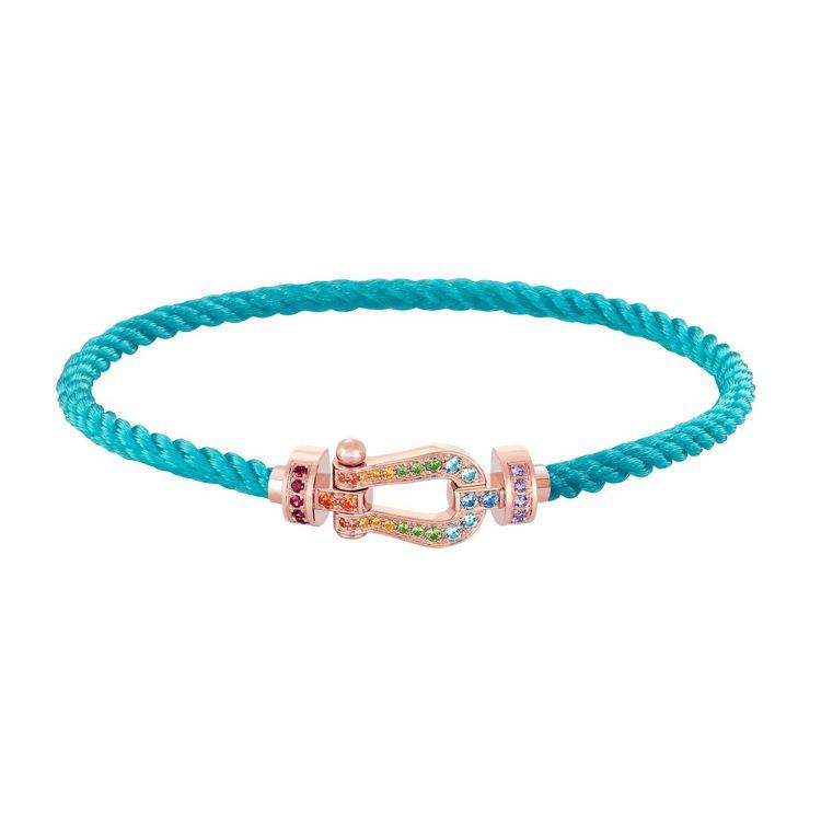 FORCE 10系列玫瑰金鍊扣鑲鑽手環,97,500元。圖/斐登提供