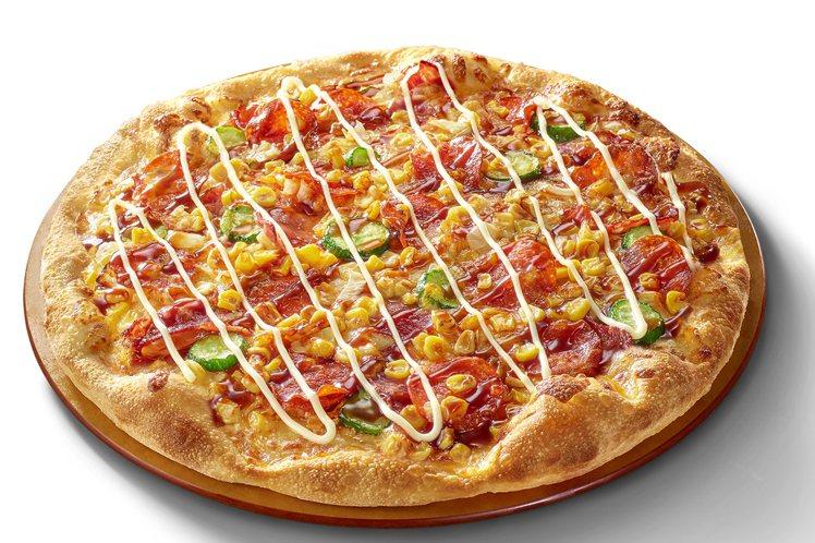 包括煙燻黃金總匯、白醬燻雞培根等4款輕鬆點大比薩,限時優惠209元。圖/必勝客提...