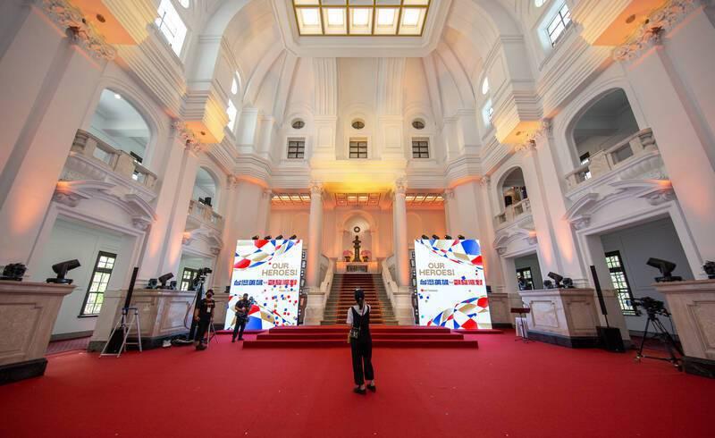 東京奧運台灣英雄凱旋派對,總統府內部布置曝光。 圖/總統府提供