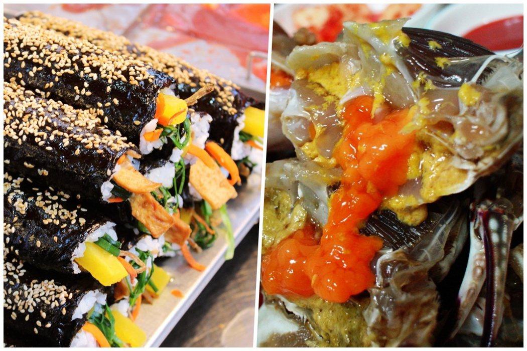 左為紫菜飯捲,和日本壽司不同之處,在於紫菜飯捲的海苔與米飯會用韓式芝麻油調味過,...
