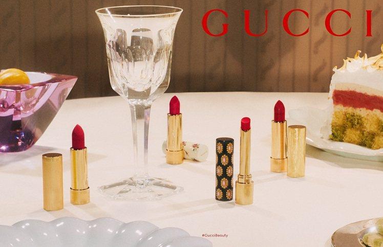 今年春季才推出的傾色琉光唇膏系列也增加了全新3色號。圖/GUCCI提供