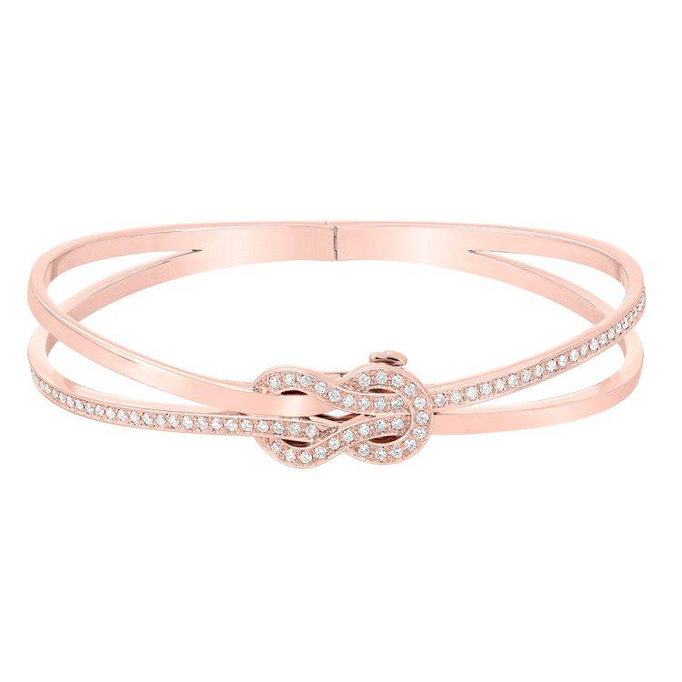 FRED Chance Infinie系列18K玫瑰金鑽石手環,43萬2,900...
