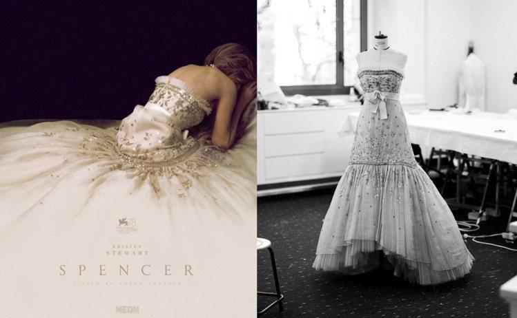 《史賓賽》首波海報中克莉絲汀史都華以背影入鏡,身上的華服是由香奈兒復刻1988年...