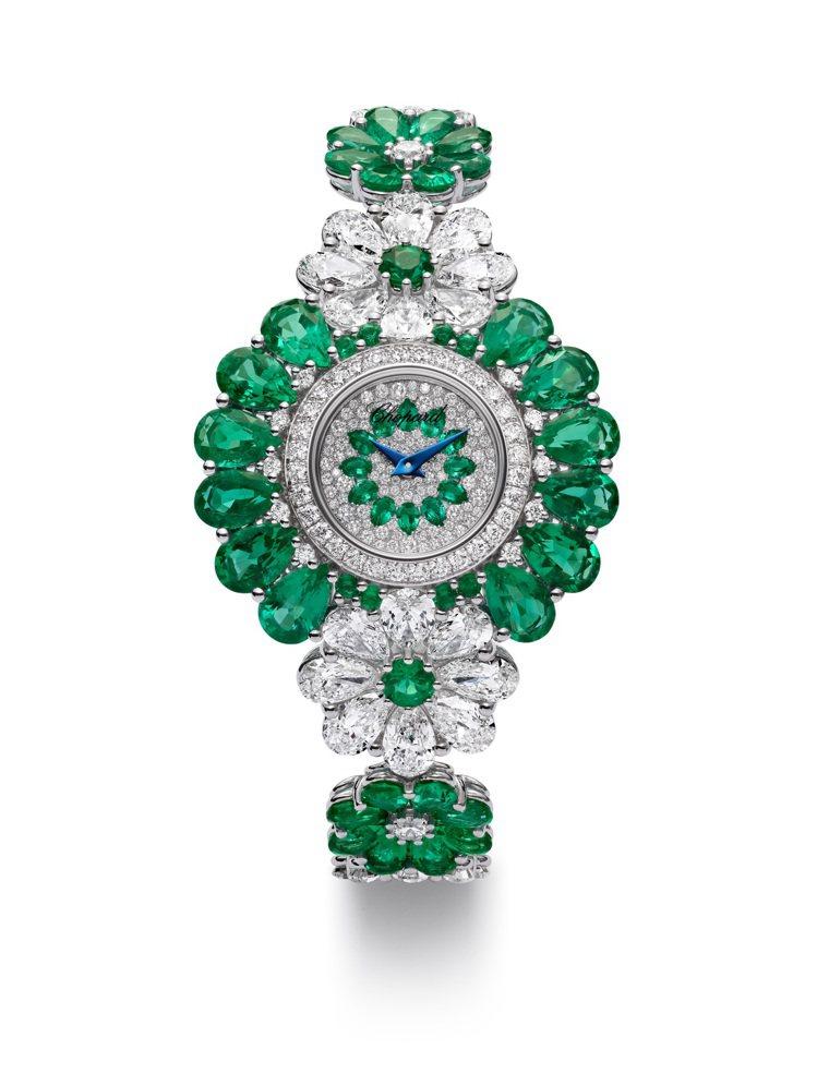 蕭邦紅地毯系列腕表,獲公平採礦認證18K白金共鑲嵌74顆祖母綠23.45克拉與鑽...