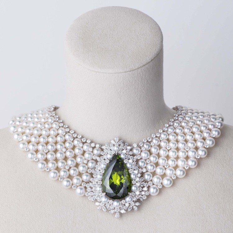MIKIMOTO頂級珠寶系列貴橄欖石珍珠頸鍊,約1,450萬元。圖/MIKIMO...