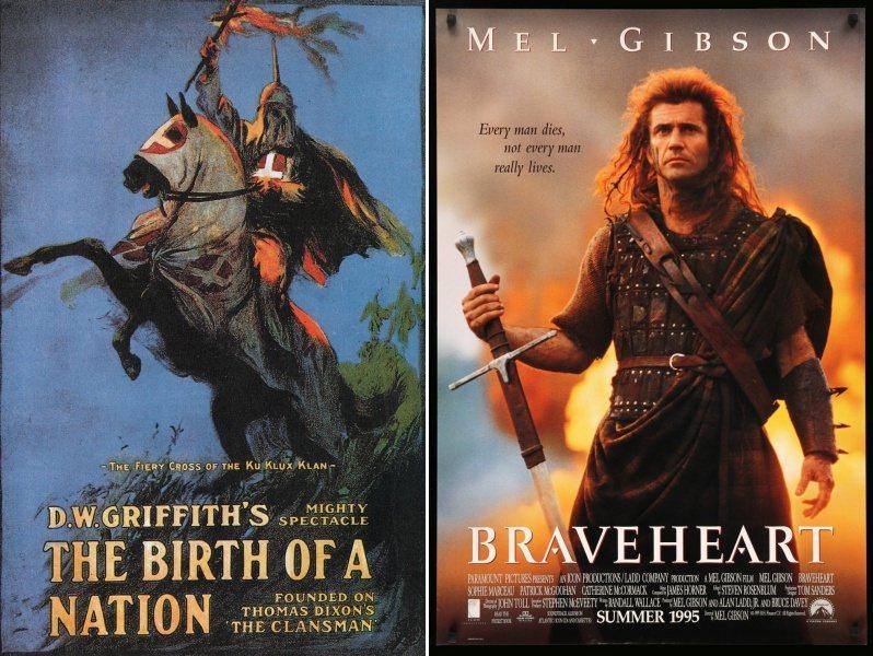 《一個國家的誕生》與《梅爾吉勃遜之英雄本色》海報。 圖/維基共享