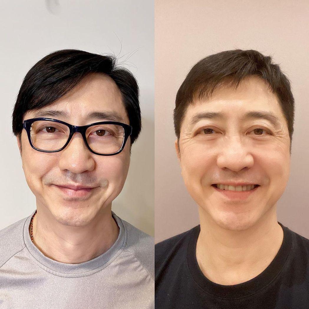 庾澄慶曬剪髮對比照。圖/擷自IG