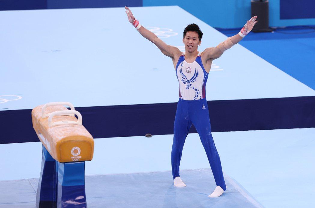 李智凱在東奧單項鞍馬賽事中展演出15.400高分,拿下銀牌。記者余承翰/攝影