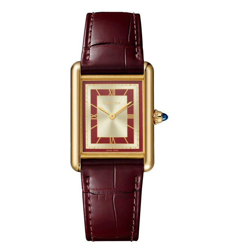 Tank Louis Cartier紅色及珠光表盤黃K金手上鍊腕表大型款,約40...