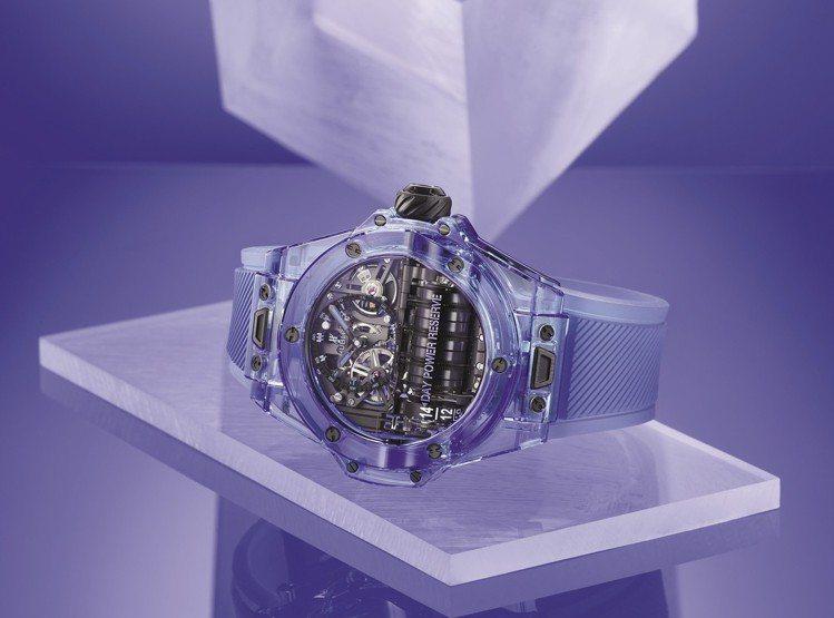 HUBLOT Big Bang MP-11藍色藍寶石腕表,408萬8,000元。...