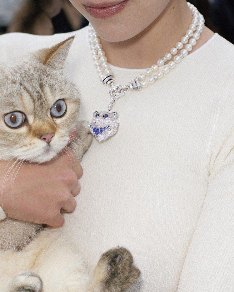 Boucheron Wladimir貓咪造型珍珠項鍊,使用雙排珍珠,和白金、鑽石...