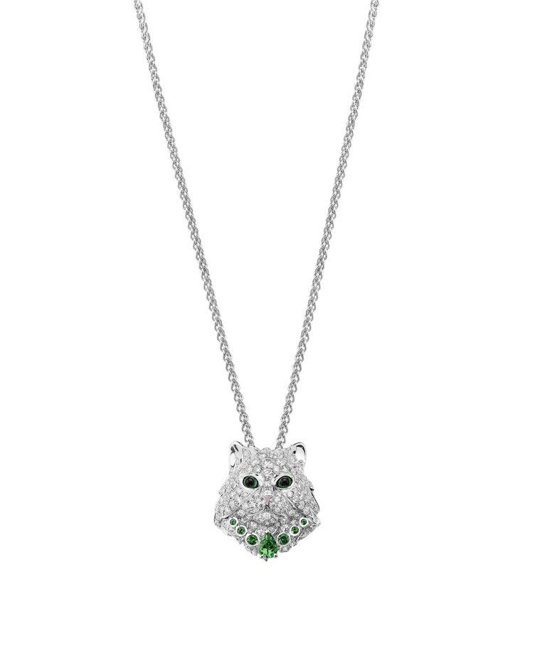 Boucheron Wladimir貓咪造型白金項鍊,白金750、鑲嵌鑽石、沙弗...