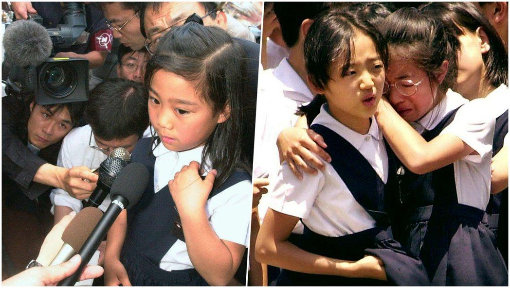 圖為受媒體採訪的倖存學童,以及當天疏散時恐懼哭泣的學生們。後來根據《NHK》等媒...