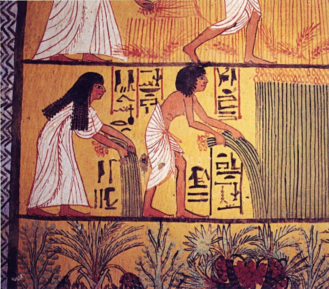 來自埃及第二十王朝戴爾美迪納(Deir el-Medina) 墓室壁畫,描繪了一...