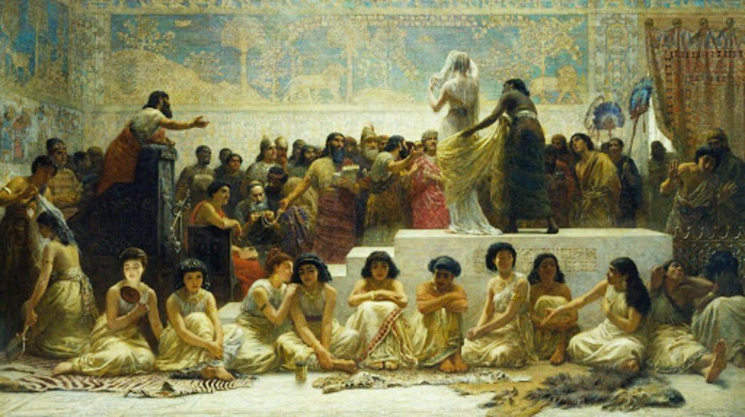圖/19世紀畫家Edwin Long所想像繪製的巴比倫新娘市場。