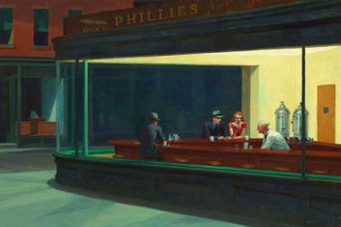 愛德華霍普(Edward Hopper)的畫作「夜鷹」(Nighthawks. 1942)。圖/摘自Wikipedia