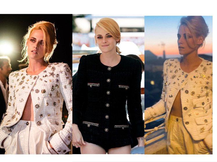 克莉絲汀史都華在威尼斯影展身穿香奈兒時裝系列。圖/取自IG
