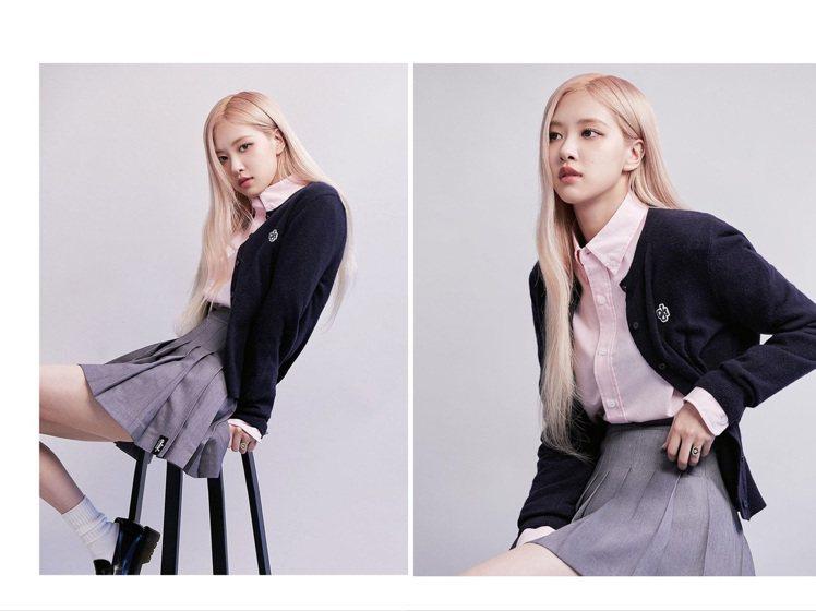 Rosé詮釋聯名款服裝簡直是「校園女神」。圖/取自IG