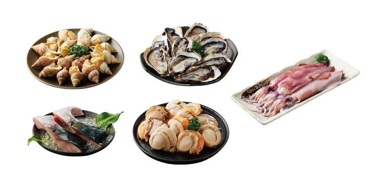 「海鮮燒烤組」,內含日本北海道帆立貝、韓國半殼生蠔、愛爾蘭甜螺等各國鮮美食材,售...
