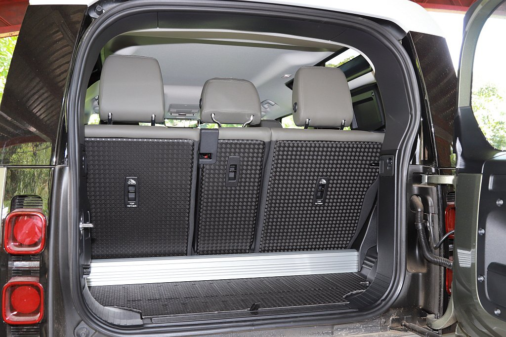 Land Rover Defender 90後行李廂空間於滿座狀態下僅有297L...