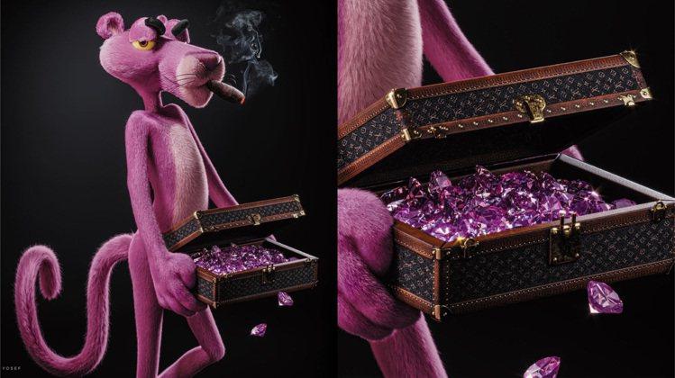 頑皮豹拿著LV箱款,還抽雪茄表現成人世界的風味。圖/取自IG @galyosef