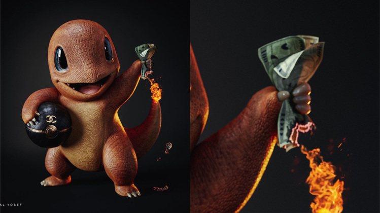 小火龍有一顆香奈兒的寶貝球,用起火的尾巴反映創作者對於炫富的反思。圖/取自IG ...