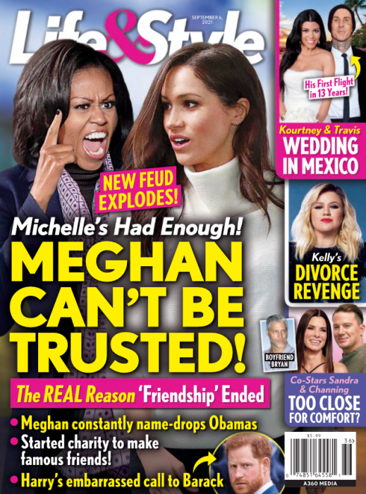 八卦雜誌指美國前第一夫人蜜雪兒(左)對英國薩塞克斯公爵夫人梅根(右)反感,彼此爆
