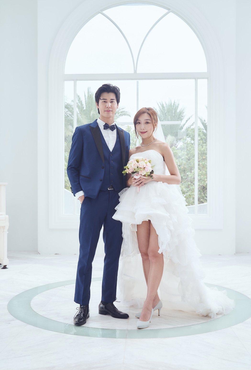 風田(左)與李宓「出嫁」MV預先婚禮流程。圖/亞凰國際娛樂提供