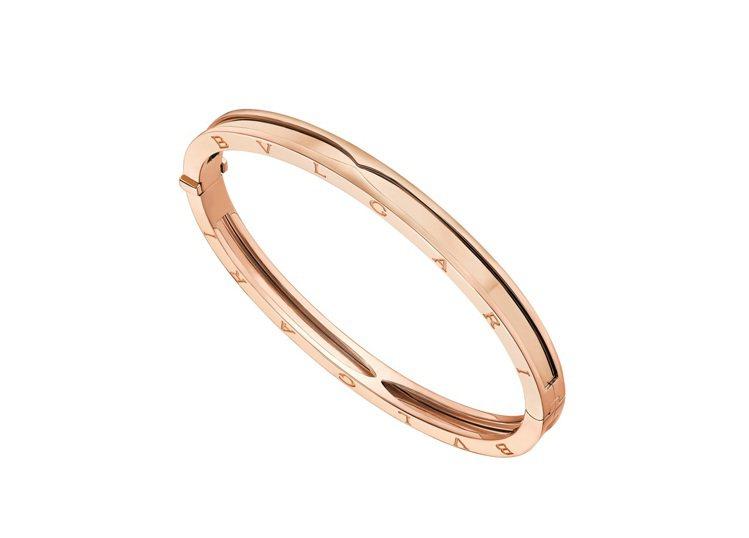 BVLGARI B.zero1系列玫瑰金手環,約20萬6,100元。圖/寶格麗提...