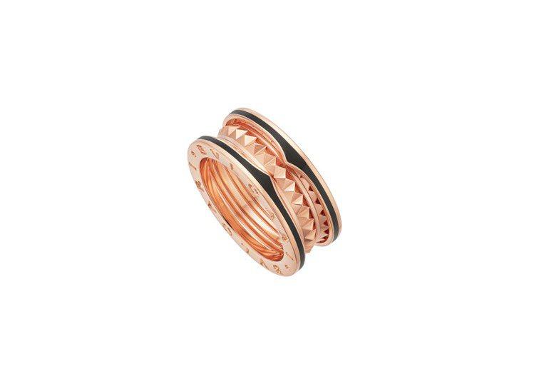 BVLGARI B.zero1 Rock系列玫瑰金鉚釘黑陶瓷雙環戒指,約69,0...