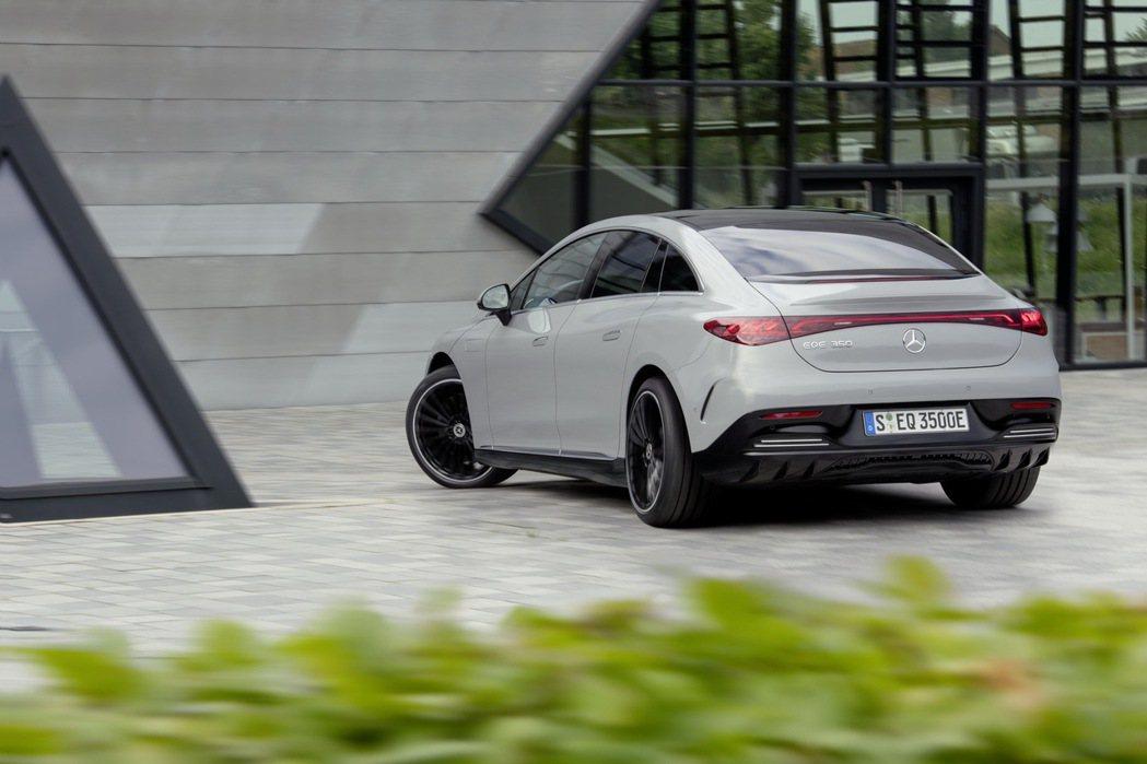 EQE選配的後輪轉向系統可提供高達10°的轉向角。 摘自Mercedes