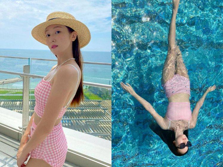 圖/微新聞提供 粉紅格紋小背心+高腰泳褲,充滿夏日感。 Source: IG...