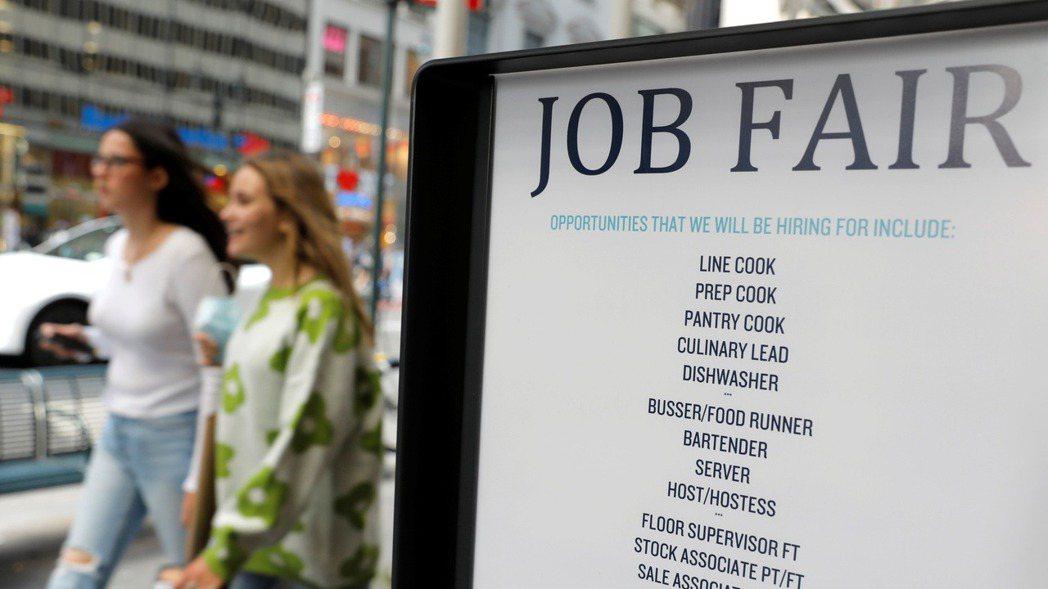 美國8月非農業就業人數遠低於預估。圖/路透