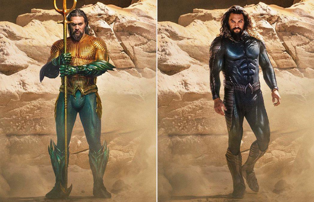 傑森摩莫亞在「水行俠2」中的造型(右)明顯和首集(左)不同。圖/摘自IG
