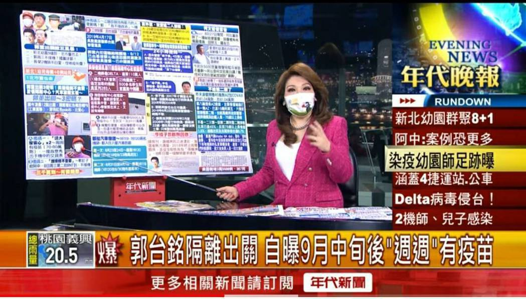 張雅琴在晚間播報新聞時大罵染疫機師趴趴走。圖/翻攝自YouTube