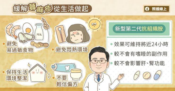 建議若蕁麻疹病患無法立即就醫,又想在短時間內得到有效地緩解,可冰敷或是沖冷水澡降...