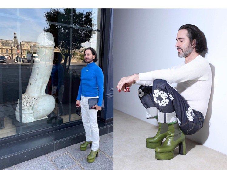 時尚小馬哥近期很喜愛搭配Rick Owens的厚底靴,也和義大利雕塑合影。圖/取...