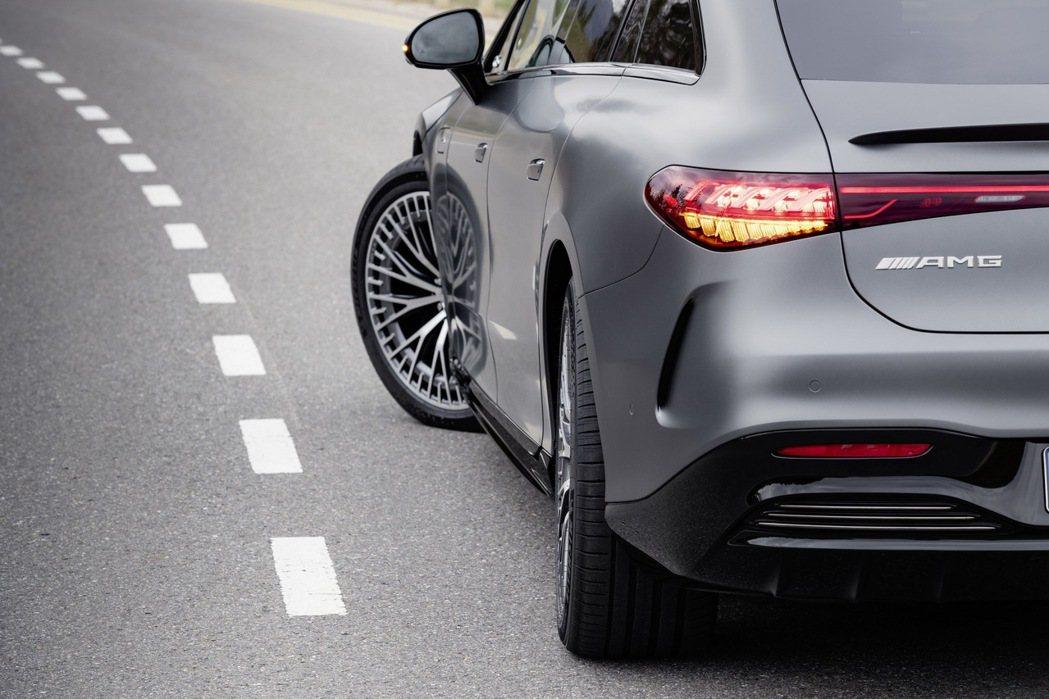 EQS 53標配了多達9°的後輪轉向系統。 摘自Mercedes
