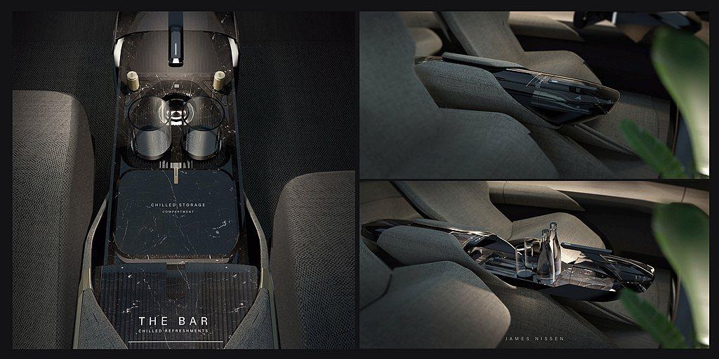 Audi grandsphere概念車座椅採人體工學設計,雙前座中央還設有專屬迷...
