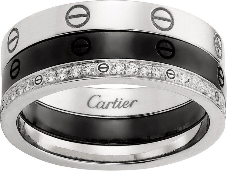 卡地亞骨董系列LOVE戒指,2017年製,白K金、鑽石、黑色陶瓷。圖/卡地亞提供