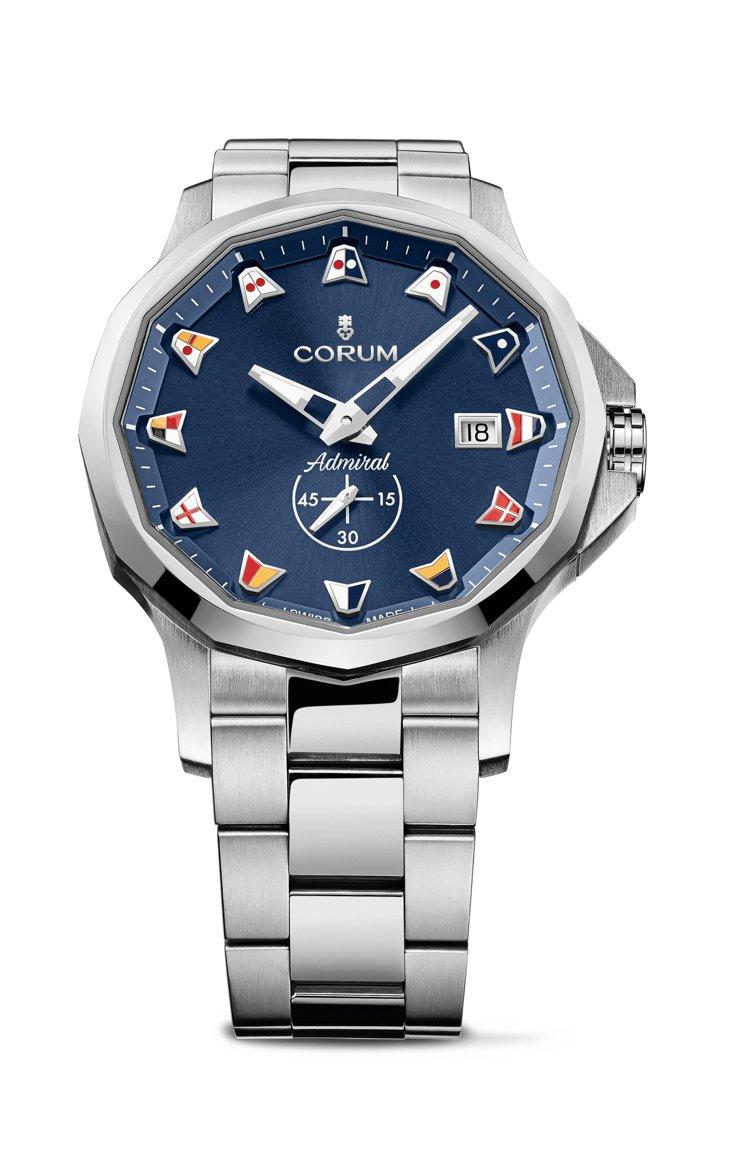 CORUM,海軍上將系列藍色自動腕表,價格店洽。圖 / CORUM提供