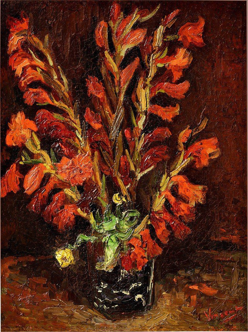 印象派大師梵谷油畫「靜物:花瓶與菖蘭」將上香港蘇富比拍場。圖/蘇富比提供