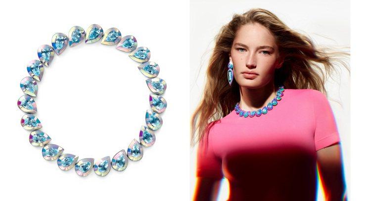 Boucheron的Laser主題項鍊將有色陶瓷材質加入珠寶設計,白金項鍊鑲嵌2...