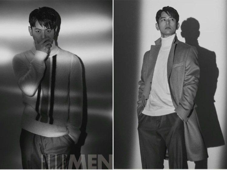妻夫木聰身BOSS雙排釦西裝外套及針織衫拍攝中國版《ELLE MEN》。圖/取自...