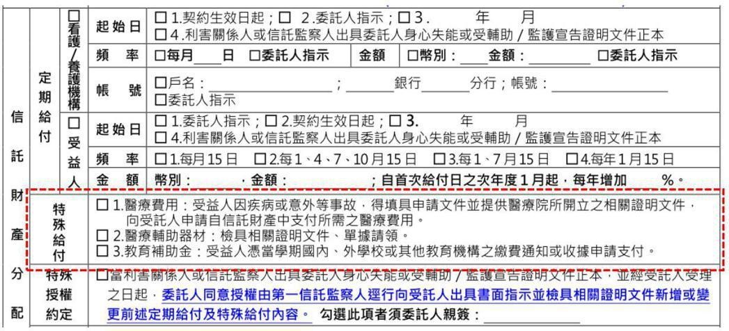圖二、信託契約給付時機/內容約定選項 資料提供:陳慶榮